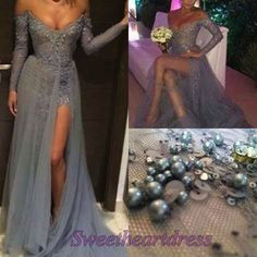 Sexy beaded tulle left slitevening dress for teens, A-line long sleeves floor-length prom dress, modest dress 2016, ball gown -> http://sweetheartdress.storenvy.com/products/14052915-sexy-beaded-tulle-left-slit-a-line-long-sleeves-floor-length-evening-dress