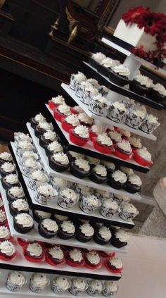 Black/Red cupcake tower with assorted wrappers