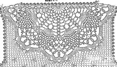 Upper back diagram for sleeveless blouse. Now to figure out what the rest of it should look like. Crochet Squares, Crochet Granny, Crochet Doilies, Crochet Lace, Crochet Stitches, Crochet Patterns, Knitting Patterns, Crochet Instructions, Crochet Diagram