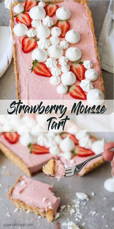This Strawberry Mousse Tart is a soft silky real strawberry mousse, inside a crisp tart shell and topped with crispy meringue kisses. Such a beautiful Spring dessert. #strawberrymousse #mothersday #springdesserts via @sugarsaltmagic