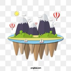 Floating Island Cute Illustration Island Islands Hot Air Balloon Png And Vector With Transparent Background For Free Download Cute Illustration Illustration Free Vector Graphics