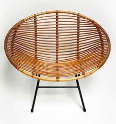 Dirk van Sliedrecht; Enameled Metal and Rattan Lounge Chair for Rohe Noordwolde, 1950s.