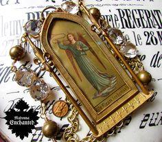Madonna Enchanted antique statement necklace shrine angel portrait fleur de lis brass Victorian ooak open back jewelry assemblage by madonnaenchanted on Etsy