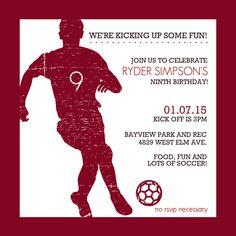 Red Silhouette Soccer Birthday Party Invitation by PurpleTrail.com