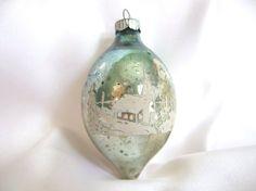 Vintage Shiny Brite Christmas Ornament Blue by BythewaysideXmas!!   Vintage color!!