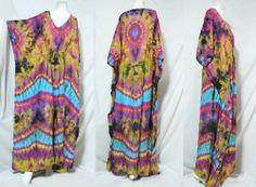 vtg HIPPIE BOHO thai handmade full rainbow tie dye kimono kaftan maxi dress 767 #Unbranded #Maxi #Casual