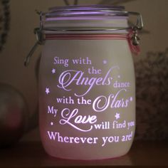 Personalised Glass candle Jar , Sing With the Angels dance with the stars, heaven, rememberance candle, mason night light, lost loved ones by Jarofheartsgifts on Etsy https://www.etsy.com/au/listing/237853948/personalised-glass-candle-jar-sing-with