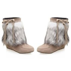 Faux Fur Boots (£47) ❤ liked on Polyvore featuring shoes, boots, faux fur shoes, faux fur boots and fake fur boots