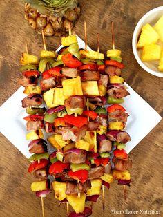 Pineapple Pork Kebabs With Water, Light Soy Sauce, Oil, Brown Sugar, Ground Ginger, Garlic, Pork Loin, Pineapple, Red Bell Pepper, Green Bell Pepper, Purple Onion