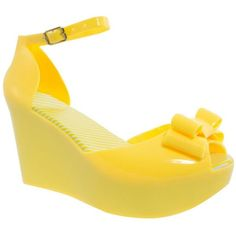 Yellow Bow Trim Platform Wedge Jelly Sandals found on Polyvore