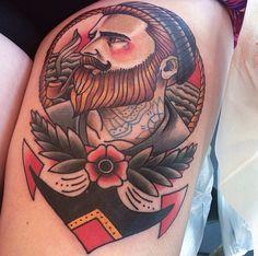 awesome beard tattoo representation beards bearded man men bearding tattoos tattooing idea ideas art sailor captain sea ocean anchor traditional style #beardsforever