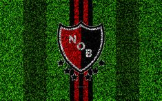 Download wallpapers Newells Old Boys, 4k, football lawn, logo, Argentinian football club, grass texture, red black lines, Superliga, Rosario, Argentina, football, Argentine Primera Division, Superleague