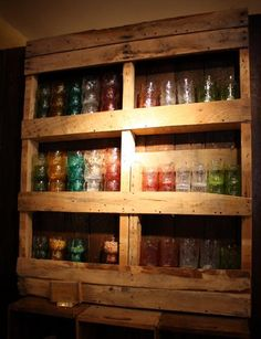 #DIY #pallet display cabinet with shelves