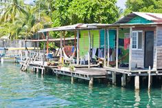 Typical houses on the water in Bocas town. Love all the colors.
