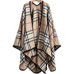 Plaid Loose Cape Outerwear ($25) ❤ liked on Polyvore featuring outerwear, coats, jackets, cardigans, cape, khaki, cape coat, khaki coat, brown coat and tartan cape