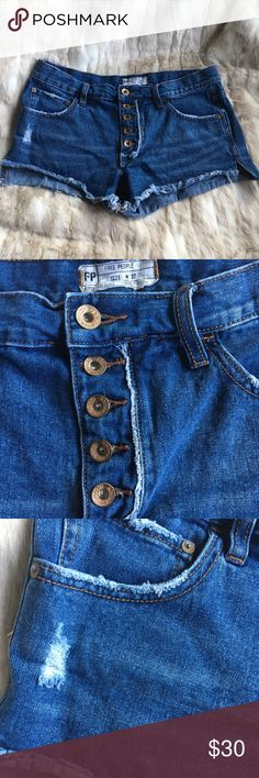 """Free People Distressed Denim Shorts EUC - Classic denim cutoffs with a five pocket design and button fly closure. 100% Cotton Machine Wash Cold  Approx. Measurements  Rise: 9.5"""" Inseam: 3"""" Free People Shorts Jean Shorts"""