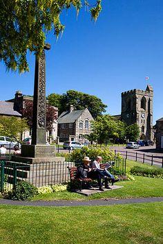 Market Cross and All Saints Church, Rothbury, Northumberland