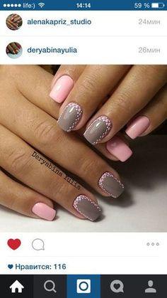 Nails art grey and pink gray 62 ideas Manicure, Shellac Nails, Pink Nails, Nail Polish, Creative Nail Designs, Creative Nails, Nail Art Designs, Trendy Nails, Cute Nails