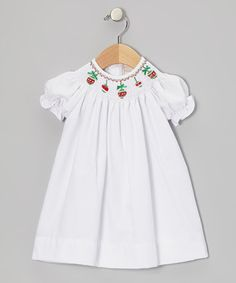 Take a look at this White Christmas Ornament Bishop Dress - Infant & Toddler by Boutique Collection by Imagewear on #zulily today!