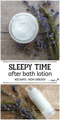 This non-greasy after bath sleepy time lotion recipe is kid safe and naturally scented to help calm, soothe and relax before bedtime.