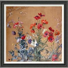 Global Gallery 'Poppies, Irises and Blossom' by Jean Brenner Framed Painting Print Size: