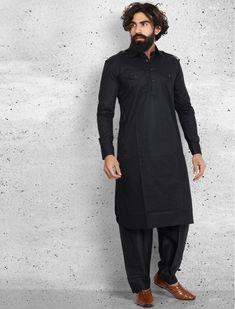 Black cotton plain pathani suit Louis Vuitton Shoes Price, Gents Kurta Design, Pathani Kurta, Ethenic Wear, Kurta Designs, Suit Fashion, Black Cotton, Mens Suits, Fabric