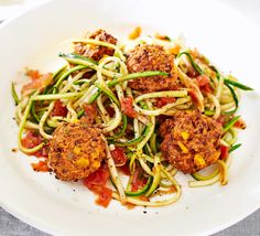 Spiralize courgettes to make this healthier, gluten-free 'pasta' dish. The vegetarian meatballs use ground almonds instead of breadcrumbs to increase the protein