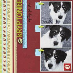 dog scrapbook: 3 photos along right side of pg, vertical columns for title and journaling. bits of themed papers and embellishments cut into strips and used for splash of color that matched overall msg