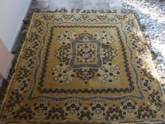 Stunning King Size Bedspread Empire Double Face Reversible Blue Mustard by VintageHomeStories