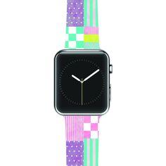 """Louise Machado """"Patchwork"""" Purple Green Apple Watch Strap"""