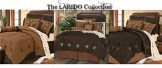 HiEnd Accents Laredo Bedding Collection - Choose Tan, Chocolate with Turquoise Stars or Chocolate with Brown Stars. Accessories Available  #DelectablyYours Western Bed & Bath Decor