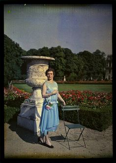 1920s: Autochrome. Lady In Blue Dress at Versailles | Flickr - Photo Sharing!