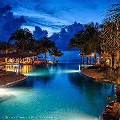 Infinity pool with infinity views. A night at Infinity Bay, Roatan Honduras.