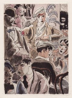 Illustration, Parisian gay bar by André Dignimont (French Paris Belleville, Ink In Water, Woman Illustration, Art For Art Sake, French Art, Female Art, Illustrators, Modern Art, Sketches