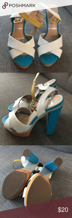 Elle heels Size 8 never worn some scuff on the strap Elle Shoes Heels