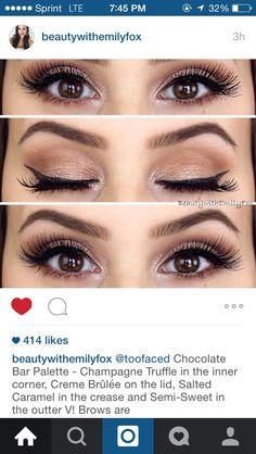 Eyebrow Makeup Tips, Skin Makeup, Makeup Application, Chocolate Bar Palette Looks, Makeup Supplies, Makeup Looks, Makeup Stuff, Makeup For Green Eyes, Too Faced Makeup