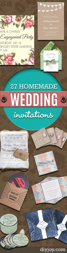 DIY Wedding Invitiations - Templates, Free Printables and Wording | Tutorials for Unique, Rustic, Elegant and Vintage Homemade Invites http://diyjoy.com/diy-wedding-invitations