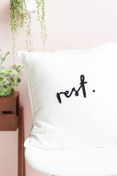 """Needle felted """"Rest"""" pillow via Fall For DIY"""