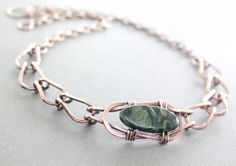 Celtic knot copper necklace with forest green jasper by IngoDesign, $44.00