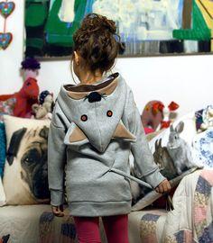 KIDS Sweatshirt hoodie panther gray 90-160 from DIAMENTOWE by Sysia by DaWanda.com