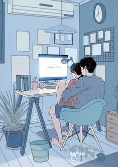 Cute Couple Drawings, Cute Couple Cartoon, Cute Couple Art, Cute Love Cartoons, Anime Couples Drawings, Anime Love Couple, Cute Drawings, Hipster Drawings, Ink Drawings