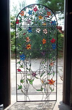 Flower stained glass kitchen door window