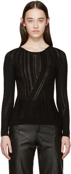 Acne Studios: Black Marcy Mouline Sweater   SSENSE