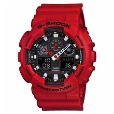 CASIO G-Shock GA-100B-4A Orologio da Uomo Analogico-Digitale #casio #gshock #analog #digital #wristwatch #red #red
