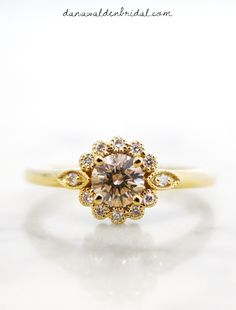 Milo -Champagne-Diamond-Halo-Engagement-Ring-Yellow-Gold-Floral-nyc – Dana Walden Bridal :: Engagement Ring Designers - NYC