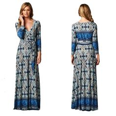 Printed Maxi Dress  S M L Gorgeous faux wrap maxi dress in different shades of blue with 3/4 sleeves and tie belt. Sizes: Small,  Medium,  Large To purchase: Comment with size and I will make a new listing for you. Dresses Maxi