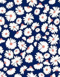 'Pop Daisy' Wallpaper by Wallshoppe - Navy - Wallpaper Roll