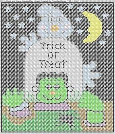 Trick or treat sign Plastic Canvas Ornaments, Plastic Canvas Tissue Boxes, Plastic Canvas Crafts, Plastic Canvas Patterns, Halloween Canvas, Halloween Projects, Halloween Stuff, Diy Projects, Needlepoint Patterns