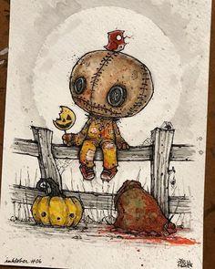 Gail's Gory Details: The Creepy Art of Mr. Revenge, Part One Scary Drawings, Dark Art Drawings, Halloween Drawings, Halloween Art, Cute Drawings, Arte Horror, Horror Art, Sam Trick R Treat, Photo Manga