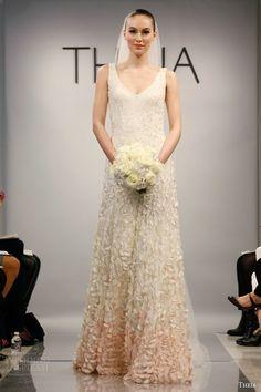 Sheath Wedding Dress : theia wedding dresses spring 2014 style 890061 sleeveless ombre petals